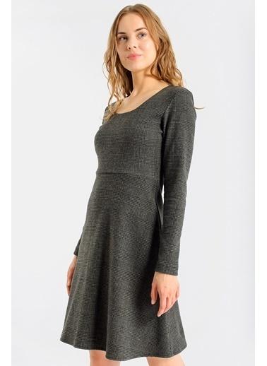 Jument Kadın Ekose Desenli Kışlık Eteği Kiloş Diz Boy Elbise-Antrasit Haki